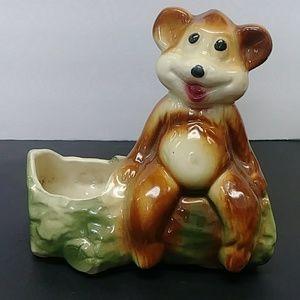 Vintage happy bear on log ceramic planter pot
